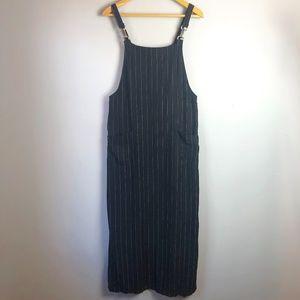 Chico's Pinstriped Linen Blend Romper Maxi Dress